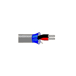 """Audio Cable, 7/30 Strand, 22 AWG, 2-Conductor, Beldfoil Shielded, Plenum-CMP, 0.127"""" Outer Diameter, 1000' Length, Tinned Copper Conductor, Gray PVC Jacket"""
